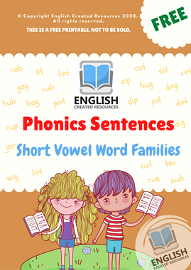 Phonics Sentences Short Vowel Word Families Part 1
