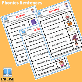 Phonics Sentences Short Vowel Word Families