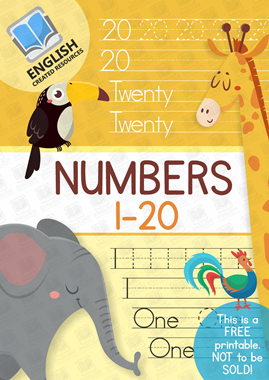 Maths Worksheets Tracing Numbers 1 : 20