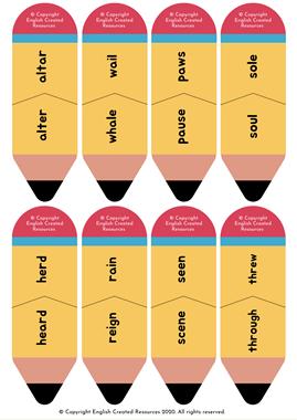 Homophones Pencil Puzzle