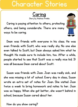 Reading Comprehension  ( Character Stories)