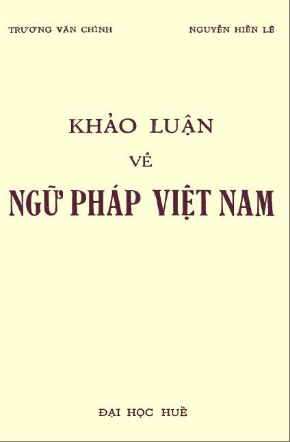 Khảo luận về Ngữ pháp Việt Nam